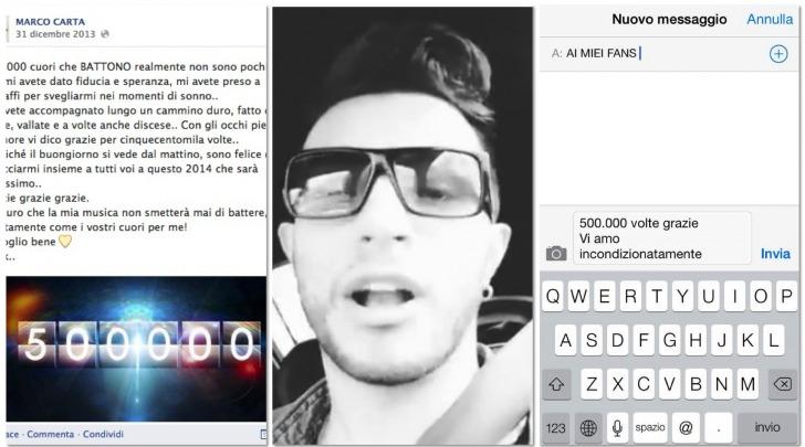 Marco Carta 500.000 follower