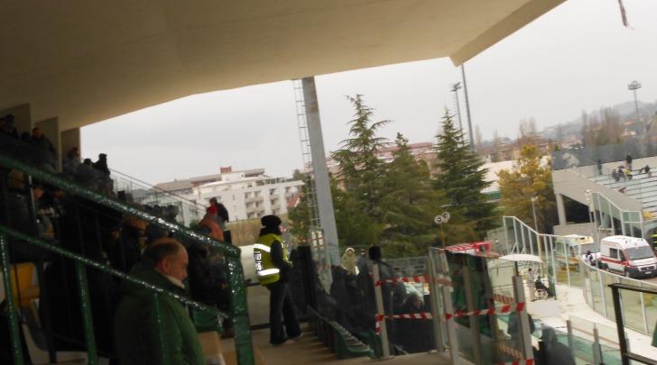 """La tribuna dello stadio """"Guido Angelini"""""""