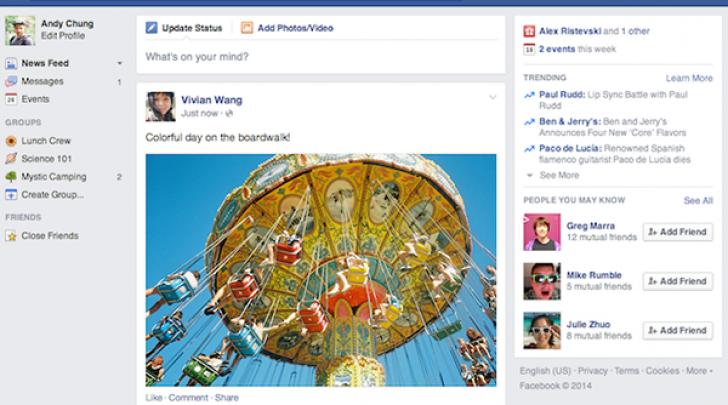 nuova interfaccia facebook