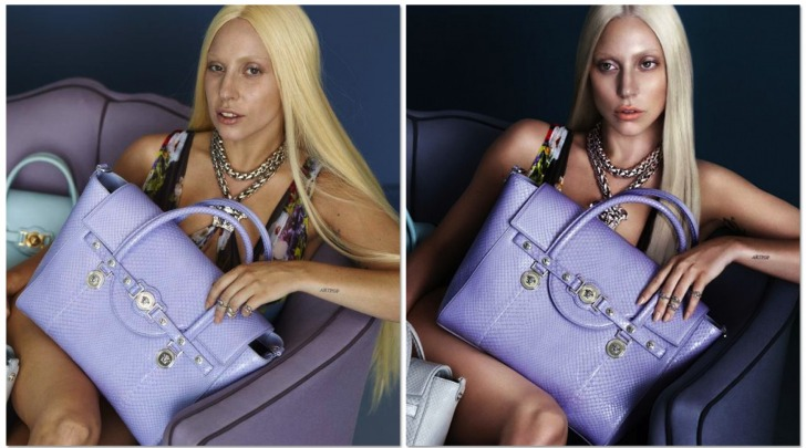 Lady Gaga prima e dopo il Photoshop