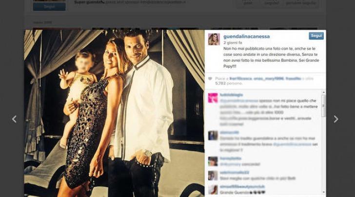 Il post di Guendalina Canessa con Daniele Interrante e la figlia Chloe (Instagram)