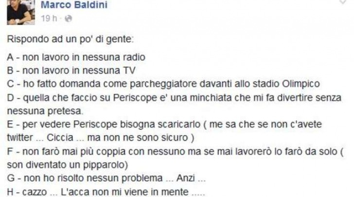 Il post di Marco Baldini su Fb
