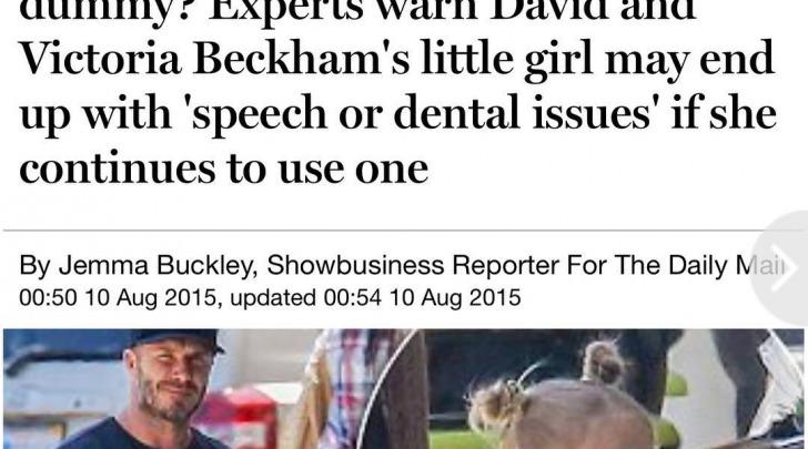 David Beckham e Harper con il ciuccio