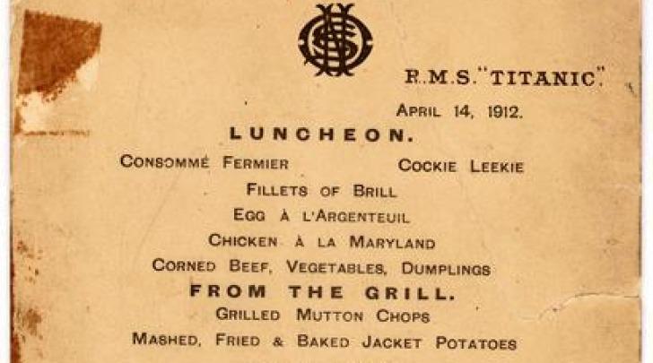 Titanic, Il Menù Dell'Ultimo Pranzo A Bordo