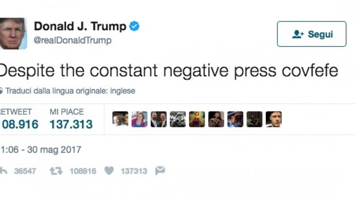 Il Tweet del Presidente Trump