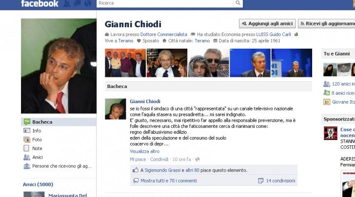 La bacheca di Facebook di Chiodi