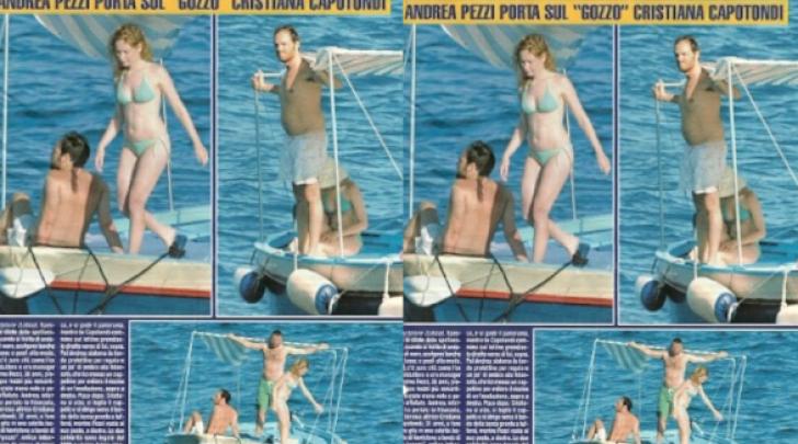 Cristiana Capotondi e Andrea Pezzi in barca